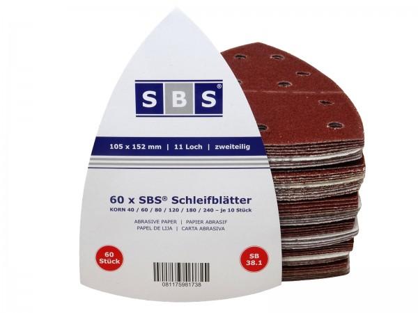 60 Stück Klett-Schleifblätter 105x152mm Schleifpapier für Multischleifer Prio MIX Körnung