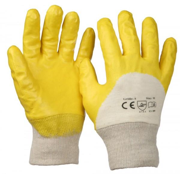 SBS® Nitrilhandschuhe Gelb mit Strickbund Gr. 7/8/9/10/11 Nitril-Handschuhe Arbeitshandschuhe