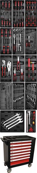 BGS 4074 Werkstattwagen | 7 Schubladen | 1 Seitentür | mit 197 Werkzeugen