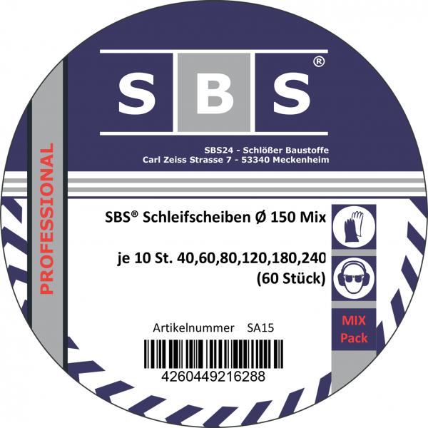SBS® Klett-Schleifscheiben Mix Ø 150 mm 15 Loch 60 Stk.