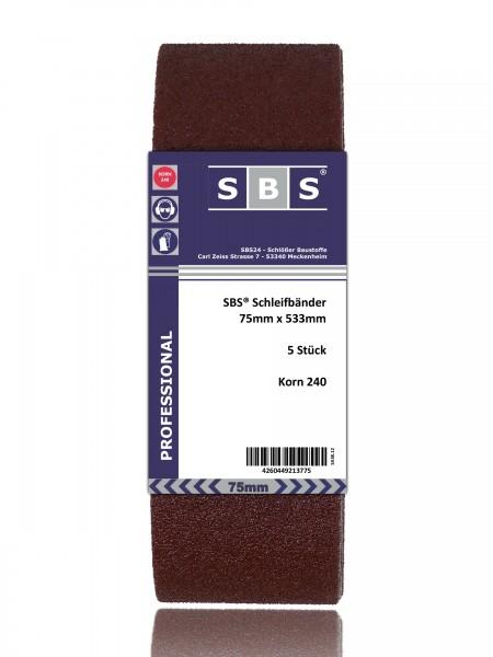 SBS® Schleifbänder 75 x 533mm 10 Stück Korn 240
