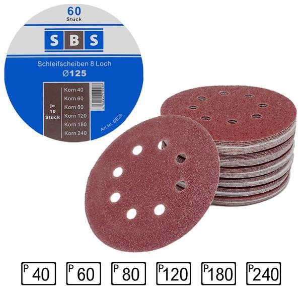 SBS® Klett-Schleifscheiben Ø 125mm 8 Loch Exzenter Mixpack 40 - 240