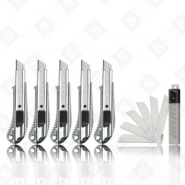 SBS® Profi Cuttermesser Aluminium 18mm 5 Stück + 10 Abbrechklingen