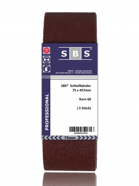 SBS® Schleifbänder 75 x 457mm 10 Stück Korn 60
