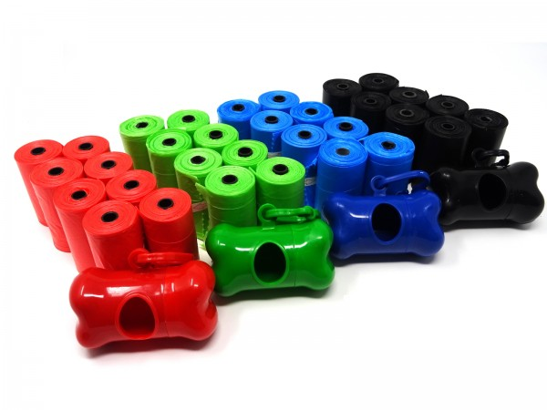 SBS® Poop Bags Hundekotbeutel 300 Stück inkl. Spender verschiedene Farben