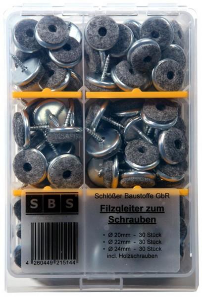 SBS® Filzgleiter Sortiment zum Schrauben 90 tlg. 20mm, 22mm, 24mm