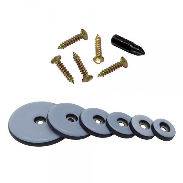 SBS® 20 Stück Teflongleiter zum Schrauben Ø 19 - 50mm inkl. Schraube Möbelgleiter PTFE Teflon + GRAT